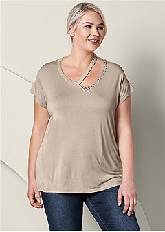 plus size embellished cut out top