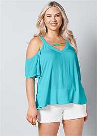Front View Strappy Detail V-Neck Top