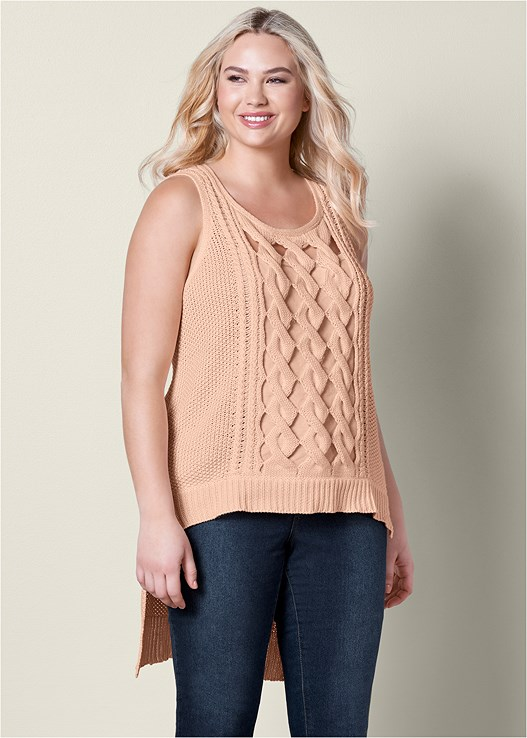 CUT OUT DETAIL SLEEVELESS SWEATER,COLOR SKINNY JEANS,RING DETAIL HEEL