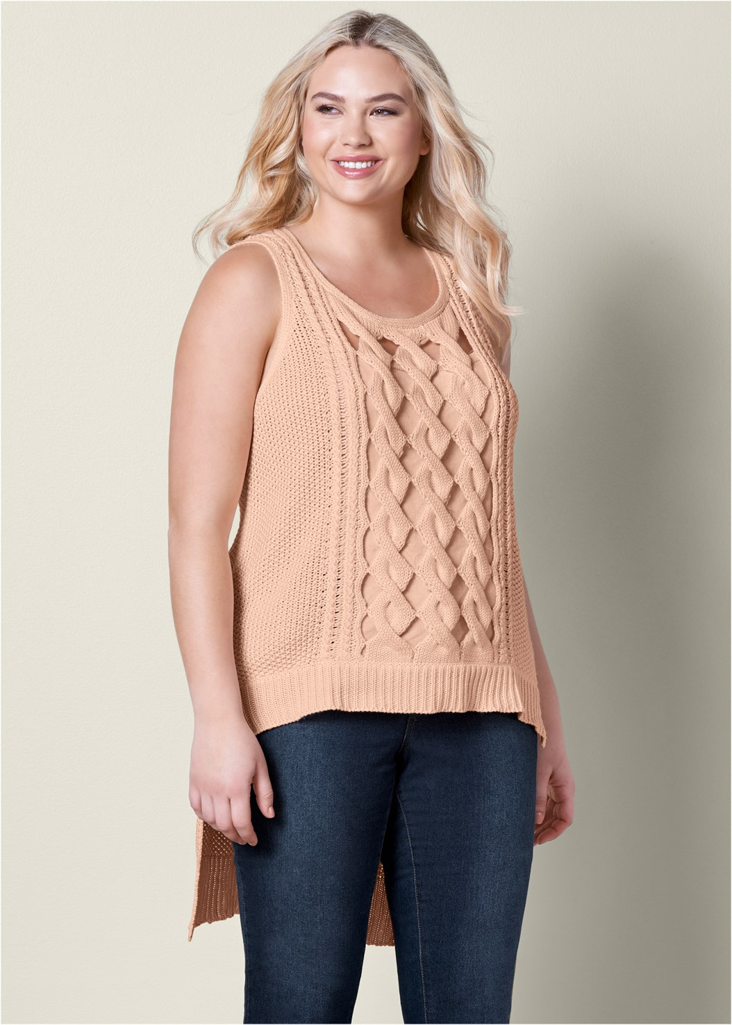 Cut Out Detail Sleeveless Sweater,Mid Rise Color Skinny Jeans