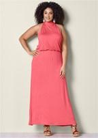 plus size mock neck maxi dress
