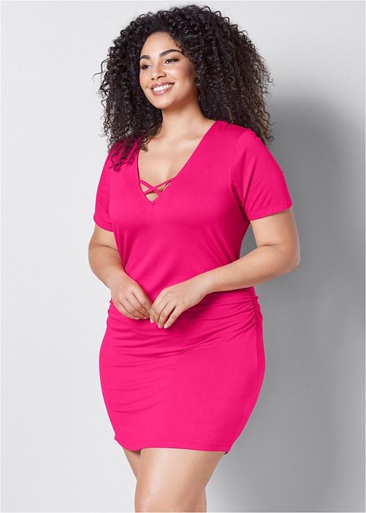 2da11d6b6ce8d Pink V-NECK T-SHIRT DRESS from VENUS