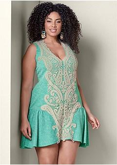 plus size ribbed lace detail dress