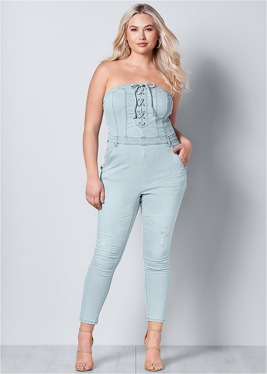 LACE UP DENIM JUMPSUIT,HIGH HEEL STRAPPY SANDALS