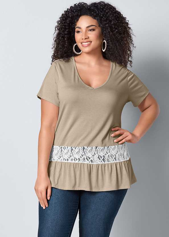 Lace Inset V-Neck Top,Mid Rise Color Skinny Jeans
