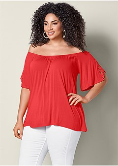 5c1a02adc455a plus size eyelet off the shoulder top
