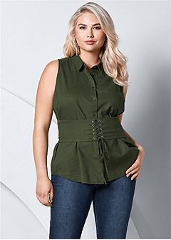 plus size corset detail sleeveless top