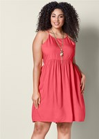 plus size high low casual mini dress