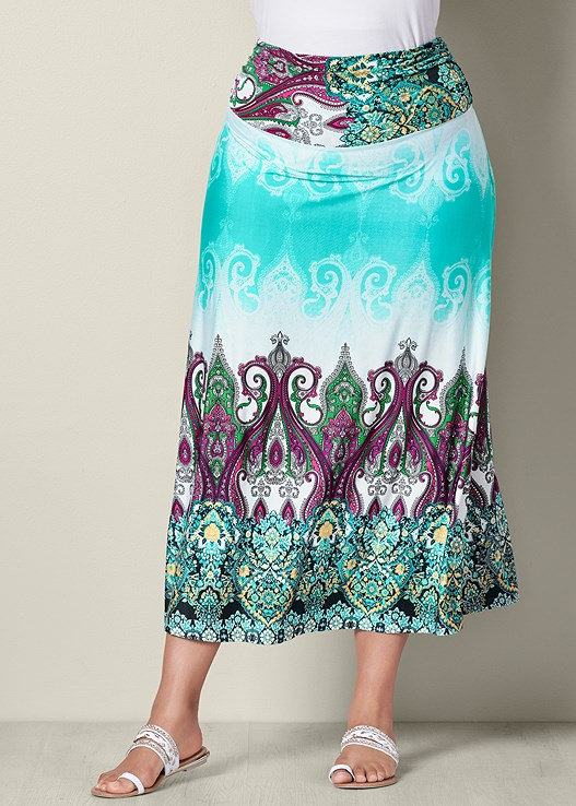 48149f52f Mint Multi PRINTED MAXI SKIRT from VENUS