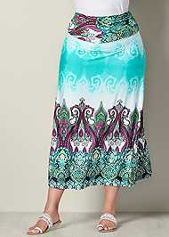 Front View Printed Maxi Skirt