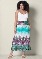 plus size printed maxi skirt