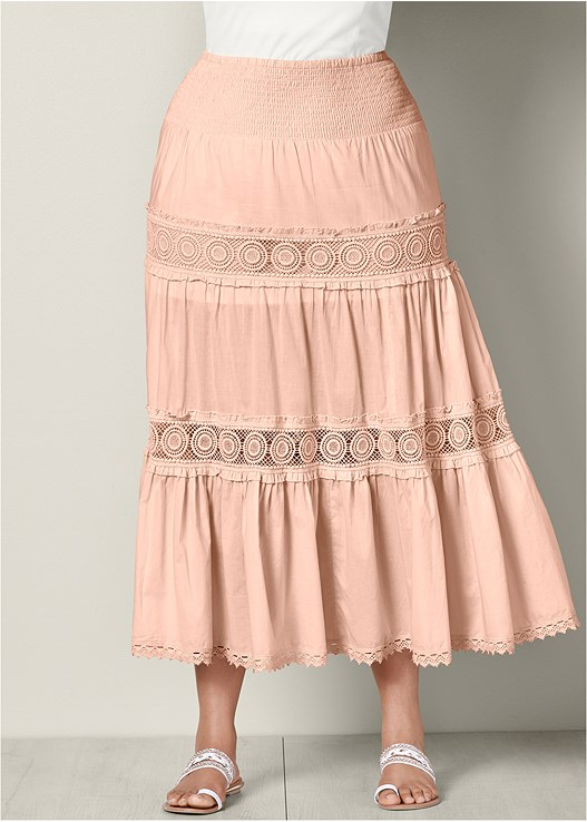Light Pink Lace Detail Maxi Skirt From Venus