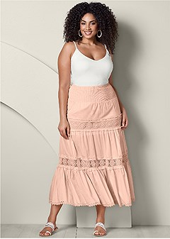 plus size lace detail maxi skirt
