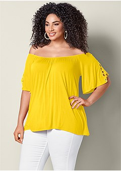 plus size eyelet off the shoulder top