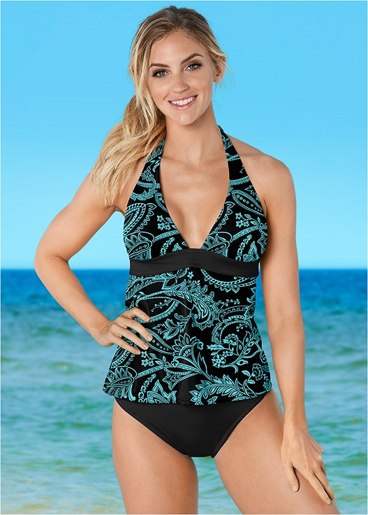 HALTER TANKINI,MID RISE MODERATE BOTTOM,MID RISE FULL CUT BOTTOM,ALLURING HIGH WAIST BOTTOM,ADJUSTABLE SIDE SWIM SHORT
