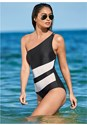Front view One Shoulder Mesh One-Piece