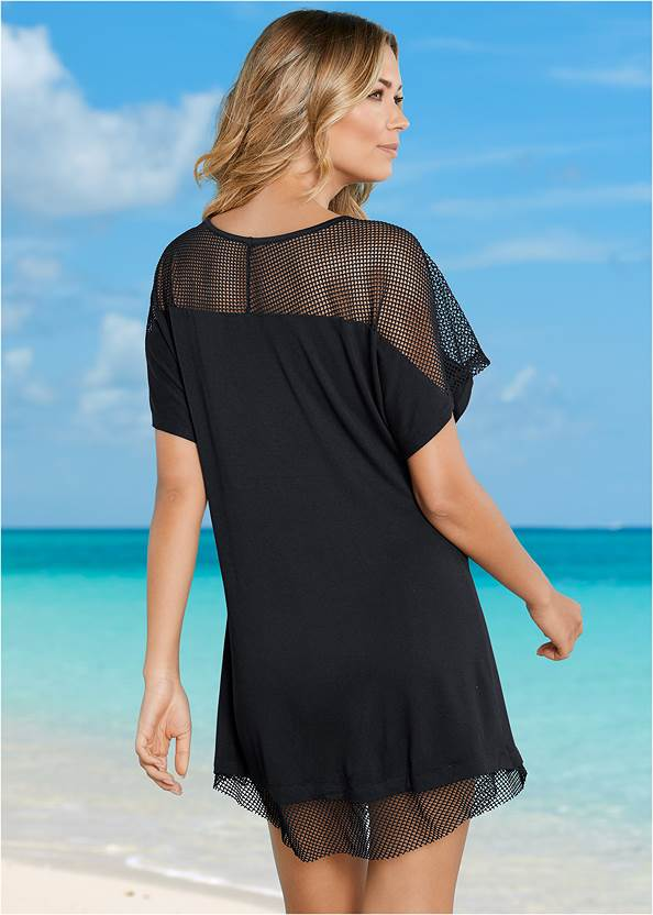 Back view Mesh Trimmed Cover-Up Dress