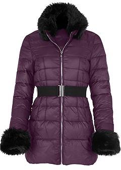 plus size faux fur puffer jacket