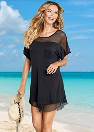Front view Mesh Trimmed Cover-Up Dress