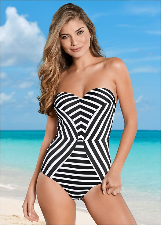 d7f7bca5bff7 UNDERWIRE BANDEAU ONE-PIECE Swimsuit in Black & White Stripes | VENUS