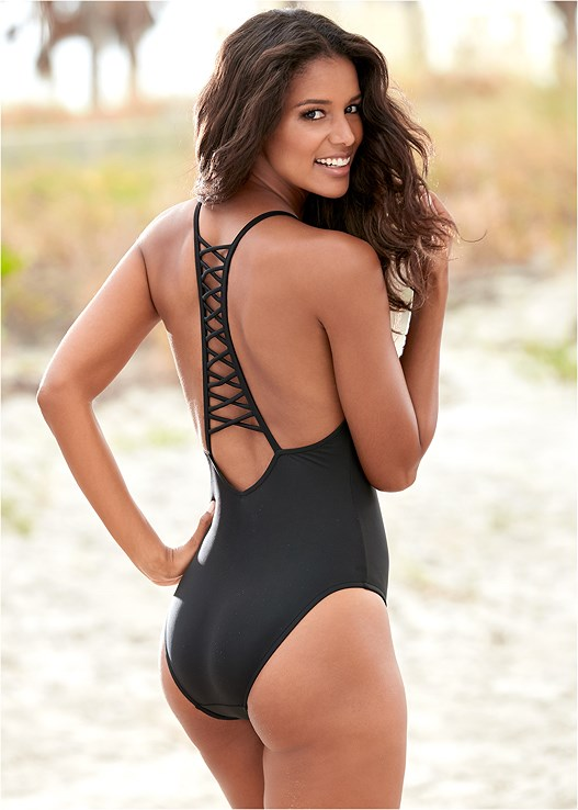 STRAPPY RACERBACK ONE-PIECE,SLEEVELESS V-NECK COVER-UP