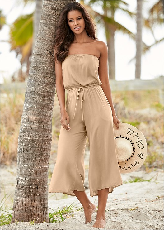 STRAPLESS JUMPSUIT,UNDERWIRE BANDEAU ONE-PIECE,STRAW FRINGE HAT