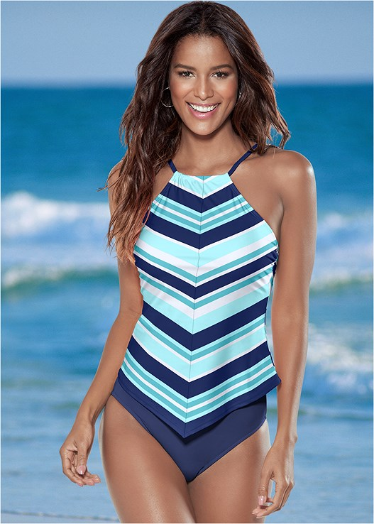 HIGH NECK TANKINI TOP,MID RISE BOTTOM,MID RISE FULL CUT BOTTOM,SWIM SHORT,SKIRTED SWIM BIKINI BOTTOM