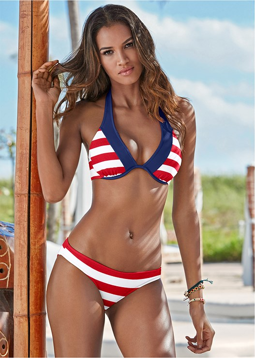 45f8884147824 Red   White Stripe UNDERWIRE HALTER BIKINI TOP from VENUS
