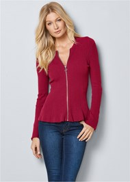 Cropped Front View Zipper Front Peplum Sweater