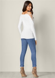 Back View Strappy Sleeve Sweater