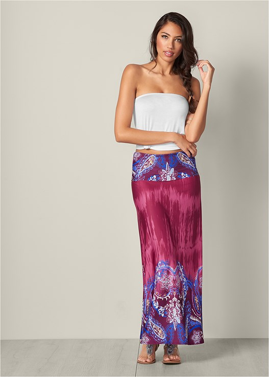 PRINT MAXI SKIRT,ETCHED METAL UPPER ARM BAND