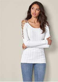 plus size strappy sleeve sweater