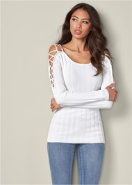 Front View Strappy Sleeve Sweater