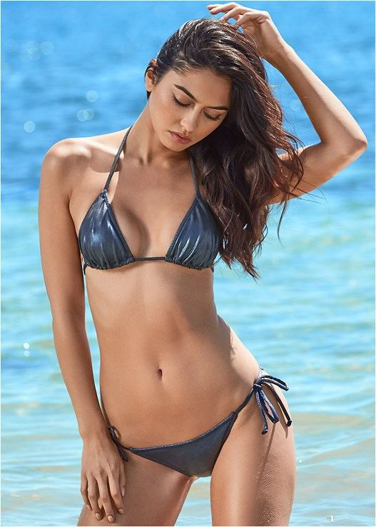 STRING SIDE BIKINI BOTTOM,TRIANGLE BIKINI TOP,ENHANCER PUSH UP TRIANGLE,STRAPPY PUSH UP BIKINI TOP,PADDED BIKINI TOP