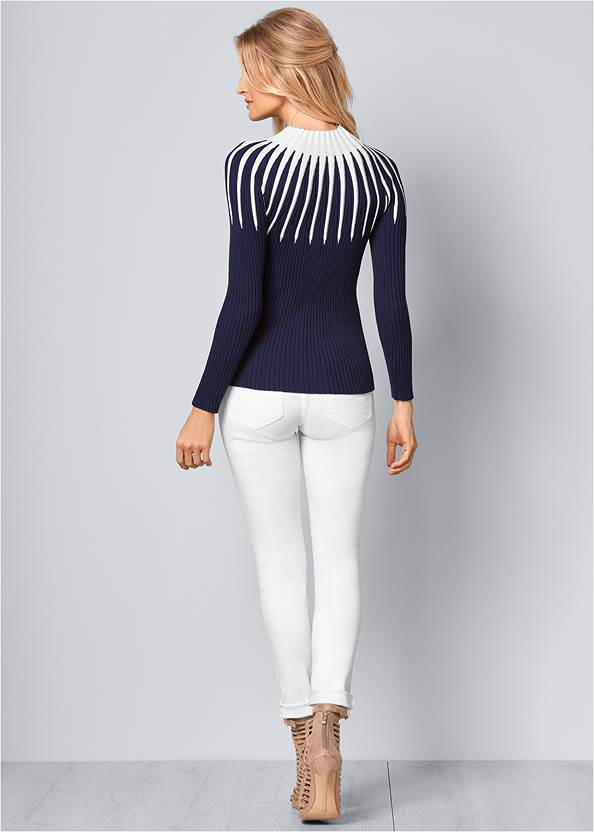 Back View Mock Neck Sweater