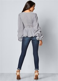 Back View V-Neck Balloon Sleeve Top