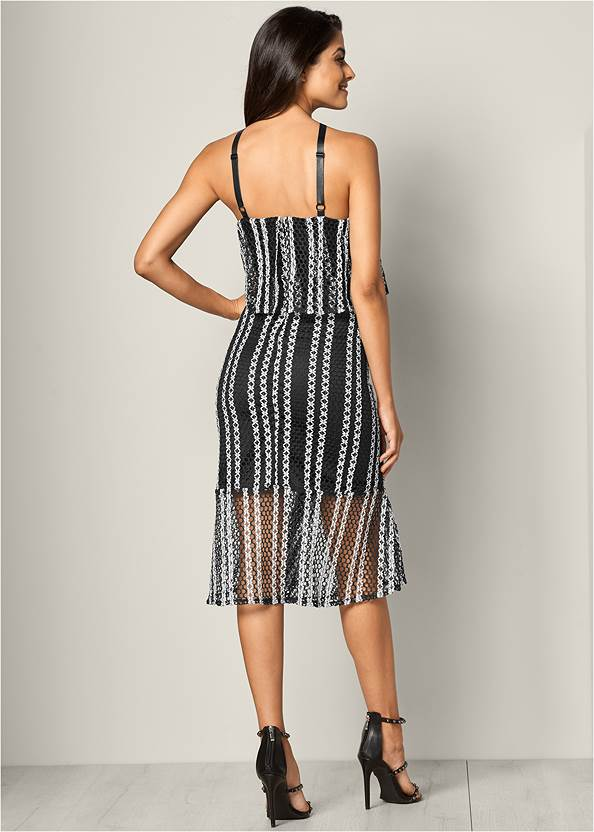 Full back view Textured Two Tone Dress