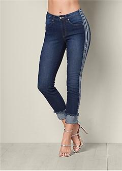 cuffed tuxedo stripe jeans