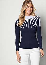 Front View Mock Neck Sweater