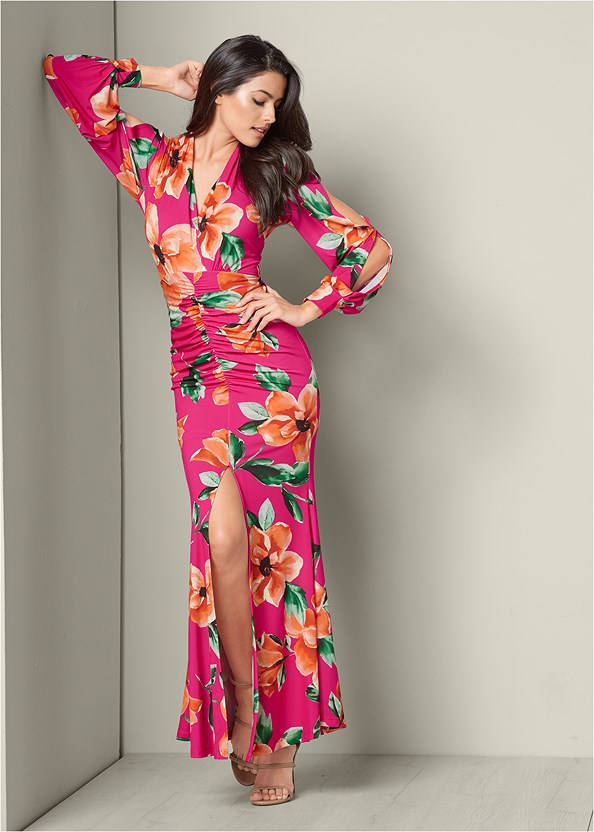 Ruched Printed Maxi Dress,High Heel Strappy Sandals