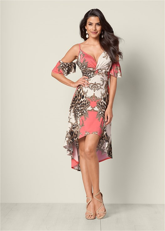 HIGH LOW PRINT DRESS,STUDDED STRAPPY HEEL,MIXED METAL BANGLE SET,FULL FIGURE STRAPLESS BRA