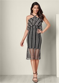 Full front view Textured Two Tone Dress