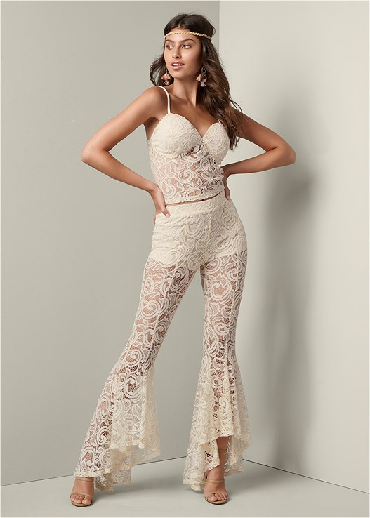 LACE PANT SET,HIGH HEEL STRAPPY SANDALS