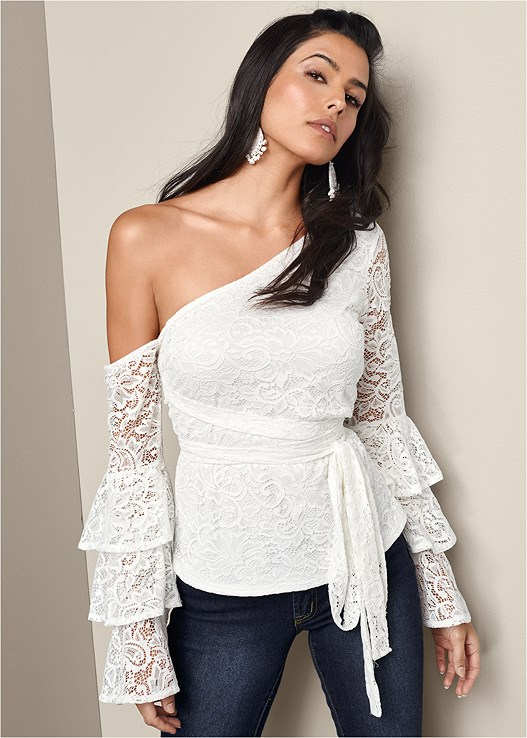 d208c196077d Off White LACE RUFFLE TOP from VENUS