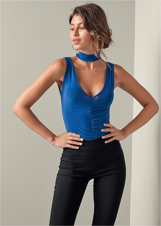 f43f61110c RUCHED BODYSUIT WITH CHOKER in Blue