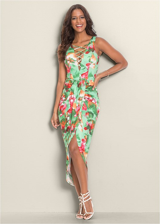 PLUNGE V-NECK MAXI DRESS,3 PK OF PETALS,STUDDED GLADIATOR WEDGE