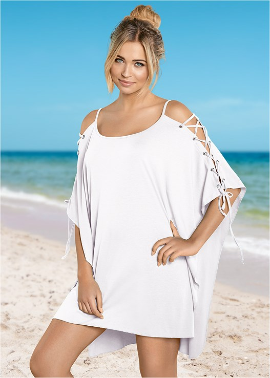 LACE UP SLEEVE TUNIC,VERSATILITY BY VENUS ™ SIX WAY REVERSIBLE TOP,VERSATILITY BY VENUS ™ REVERSIBLE HIPSTER BOTTOM