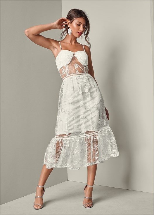 47ad7abc527 LACE BUSTIER DRESS in Off White | VENUS