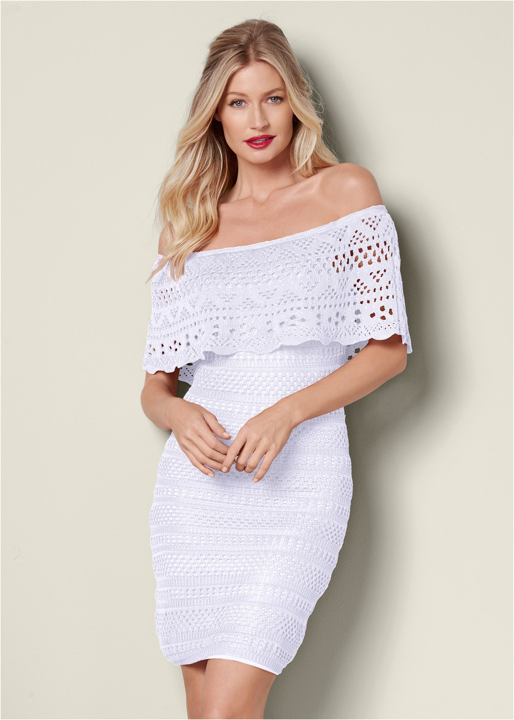 Crochet Detail Dress,Raffia Detail Heels