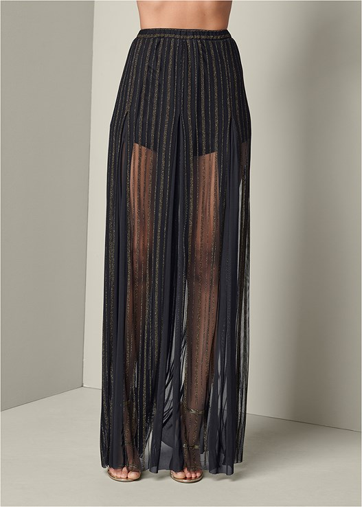 ILLUSION MAXI SKIRT,STRAPPY PUSH UP BODYSUIT,HIGH HEEL STRAPPY SANDALS